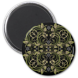 green decorative floral pattern 2 inch round magnet