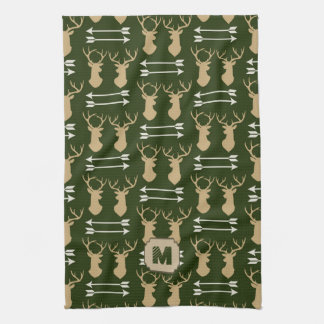 Green Deer Pattern Cabin Kitchen Towel