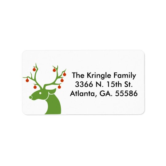 Green Deer With Ornaments Address Labels