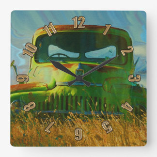 Green Derelict Farm Truck Wall Clock