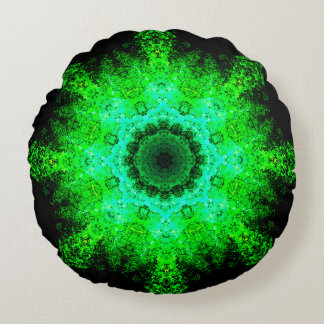 Green Detailed Mandala Round Pillow