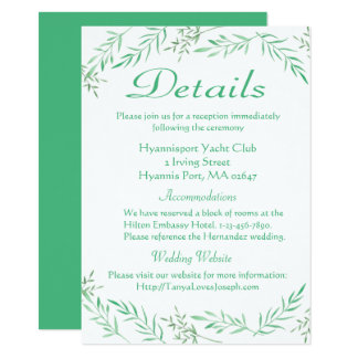 Green Details Laurel Leaves Watercolor Wedding Card