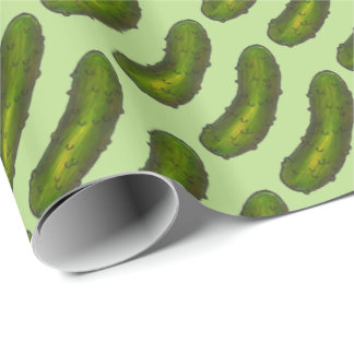 Green Dill Pickle Pickles Foodie Print Kosher Sour Wrapping Paper