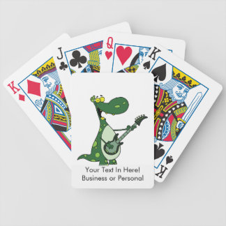 green dino holding guitar graphic bicycle playing cards