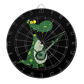 green dino holding guitar graphic dart boards