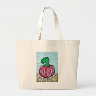 green dino t rex large tote bag