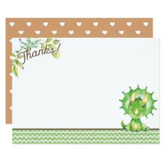 Green Dinosaur Baby Shower Thank You Card