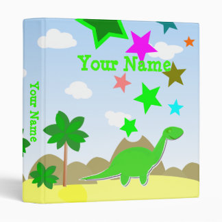 Green Dinosaur Cartoon Binder