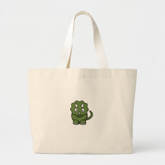 green dinosaur cartoon large tote bag