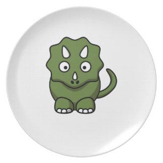 green dinosaur cartoon plate