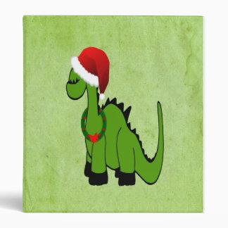 Green Dinosaur in a Santa Hat for Christmas 3 Ring Binders
