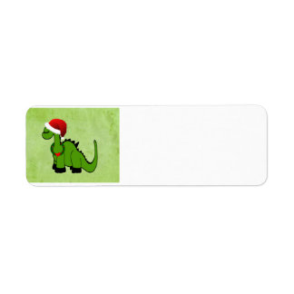 Green Dinosaur in a Santa Hat for Christmas Labels