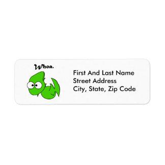 Green Dinosaur Pterodactyl or Dragon Whoa Cartoon Return Address Label