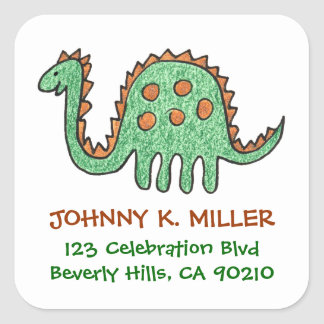 Green Dinosaur, Square Address Labels