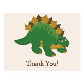 Green Dinosaur, Stegosaurus Thank You Postcard