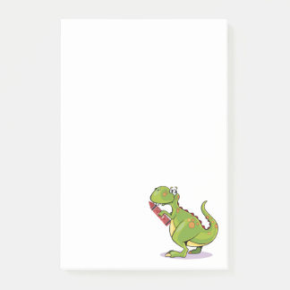 Green Dinosaur Wit Big Red Crayon Post-it Notes