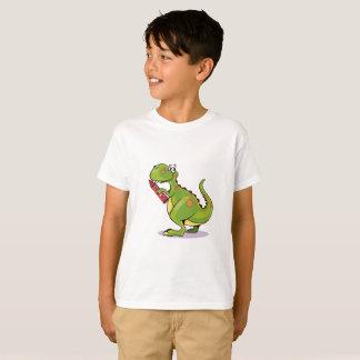 Green Dinosaur Wit Big Red Crayon T-Shirt