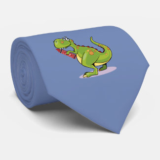 Green Dinosaur Wit Big Red Crayon Tie