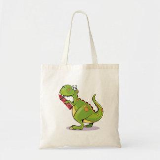Green Dinosaur Wit Big Red Crayon Tote Bag
