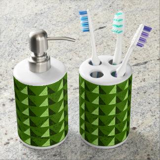 Green Distressed Geometric Pattern Bath Accessory Set