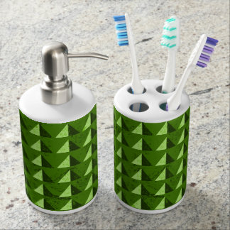 Green Distressed Geometric Pattern Bathroom Set