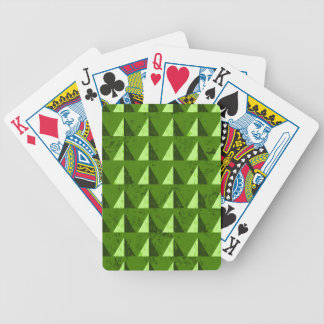 Green Distressed Geometric Pattern Bicycle Playing Cards
