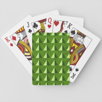 Green Distressed Geometric Pattern Playing Cards