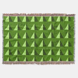Green Distressed Geometric Pattern Throw Blanket