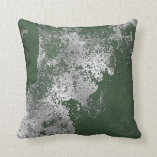 Green Distressed Grungy Silver Cement Gray Vip Throw Pillow