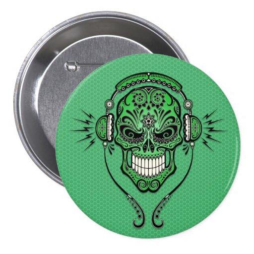 Green DJ Sugar Skull Pinback Button
