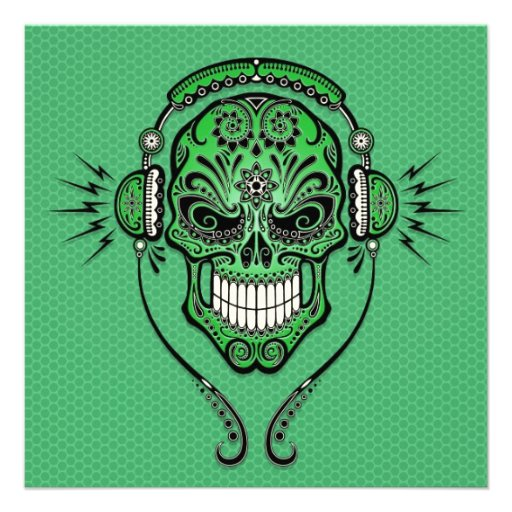 Green DJ Sugar Skull Custom Announcement