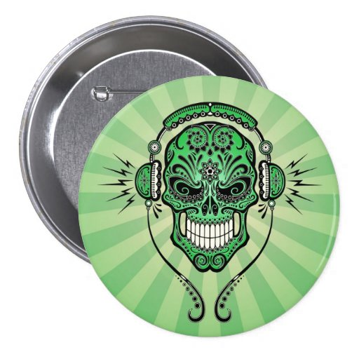 Green DJ Sugar Skull with Rays of Light Button