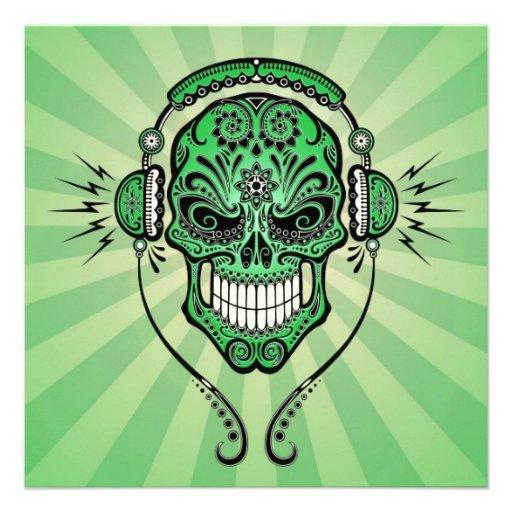 Green DJ Sugar Skull with Rays of Light Custom Invitation