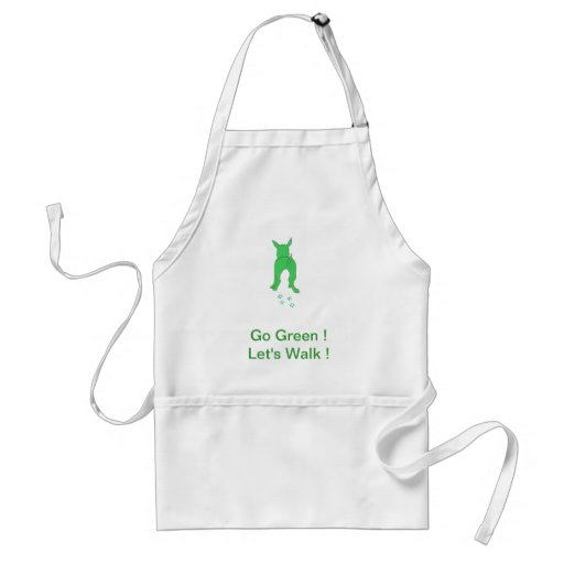 Green Dog Ears Up Let's Walk Apron