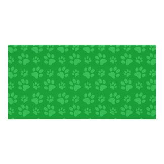 Green dog paw print pattern photo card