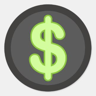 Green dollar sign on dark background stickers