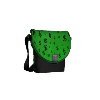 Green Dollar Sign Print Commuter Bag