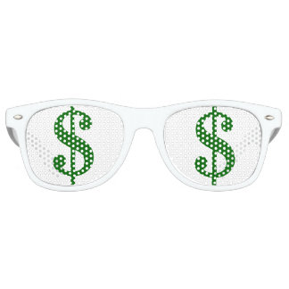 Green Dollar Signs in Your Eyes Retro Sunglasses