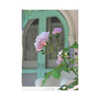 Green Door and Pink Rose-Martha's Vineyard Cottage Canvas Print