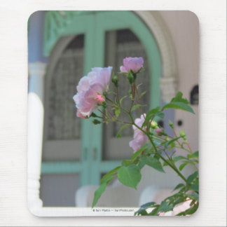 Green Door and Pink Rose-Martha's Vineyard Cottage Mouse Pad