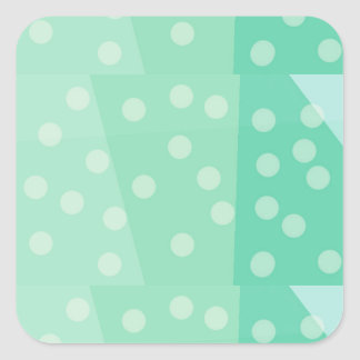 Green Dots and Spots Glossy Sticker Square Shape