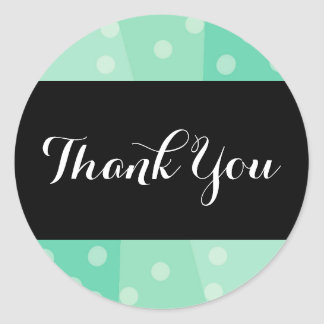 Green Dots and Spots Thank You Stickers
