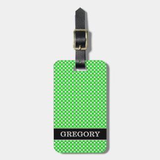Green Dots/Circles Pattern + Custom Name Luggage Tag