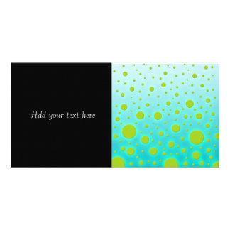 Green Dots over Turquoise Fun Design Photo Greeting Card