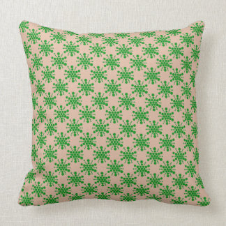 Green dotted star on taupe throw pillow