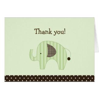Green Dottie Elephants Folded Thank you note Card