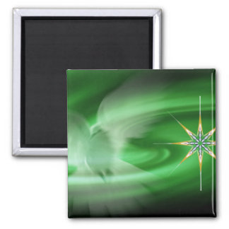 Green Dove & North Star Square Magnet