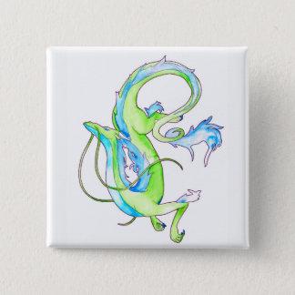 Green Dragon 2 Inch Square Button