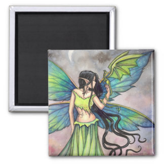 Green Dragon and Fairy Fantasy Art Square Magnet