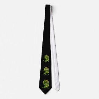 Green dragon cartoon Tie